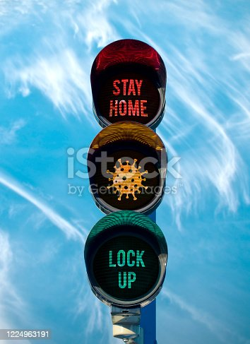 """traffic light with """"stay home"""" and """"lock up"""" sign. corona covid 19 concept."""