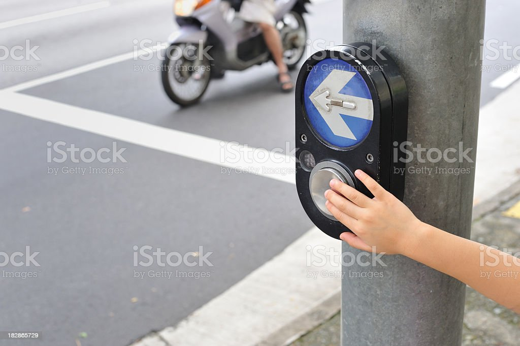 traffic light signal button, concept image of road safety, children...