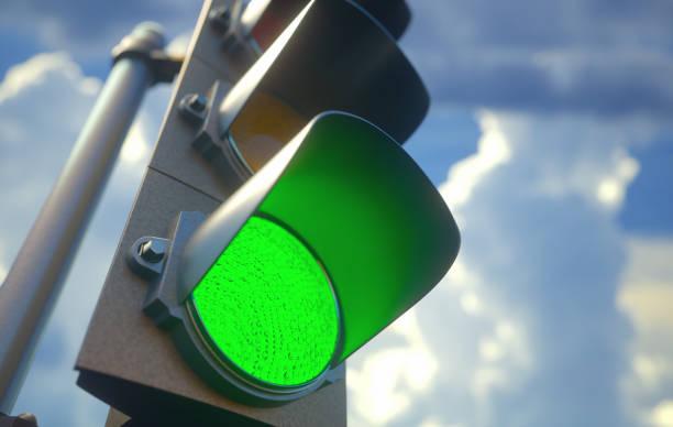 信号の緑 ストックフォト