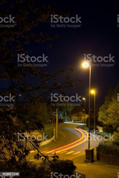 Photo of traffic light lines at night