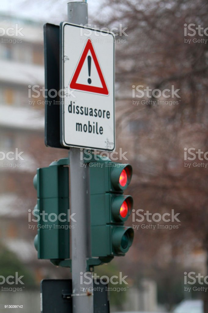 traffic light - mobile bollard stock photo