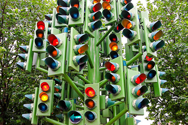 Traffic light Lot of traffic lights at big pole. traffic jam stock pictures, royalty-free photos & images