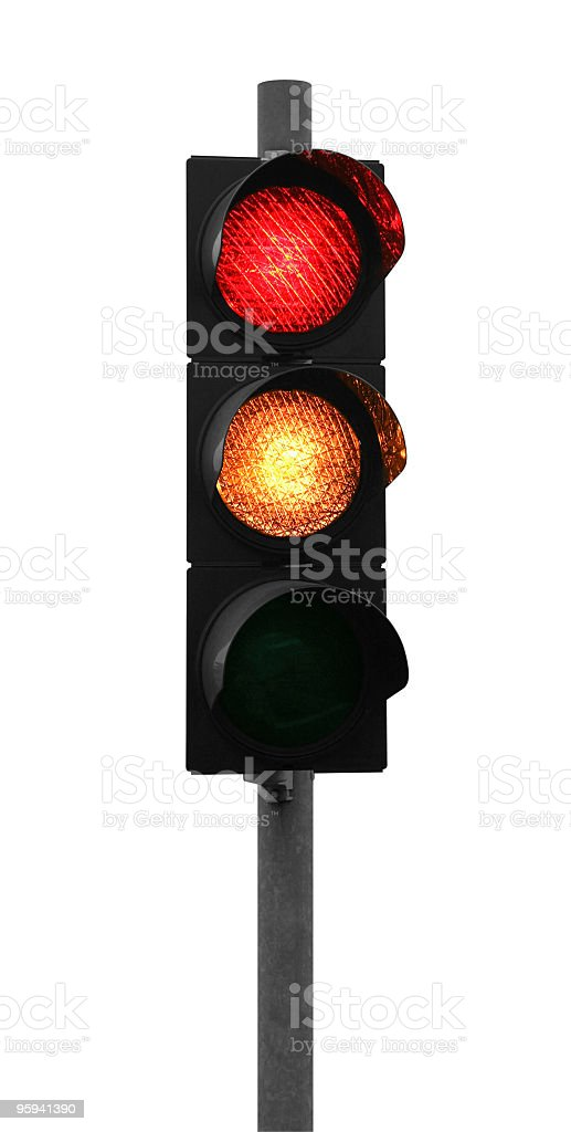 traffic light shows red and yellow stock photo