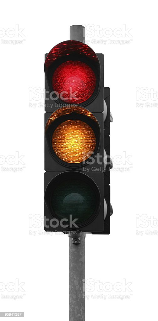 traffic light shows red yellow stock photo