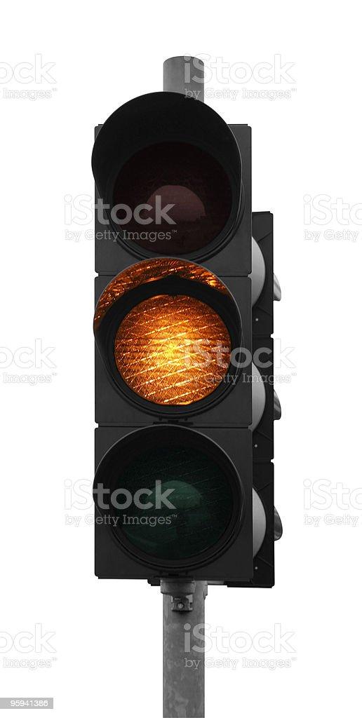 traffic light shows yellow stock photo