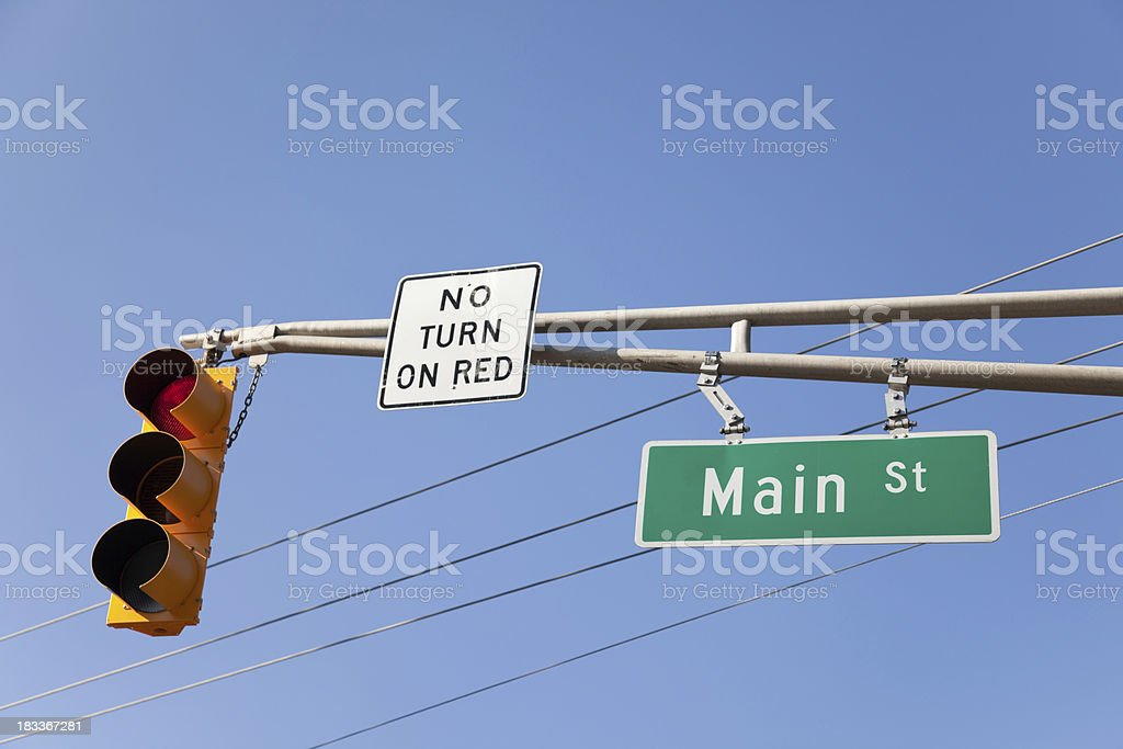 Traffic Light & Street Sign royalty-free stock photo