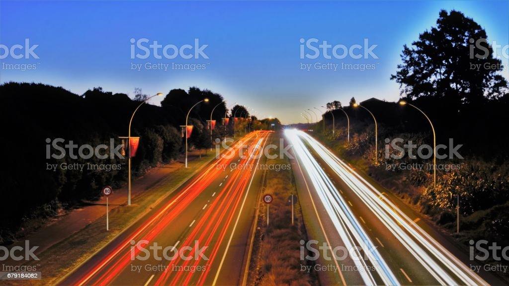 Traffic Light Trail stock photo