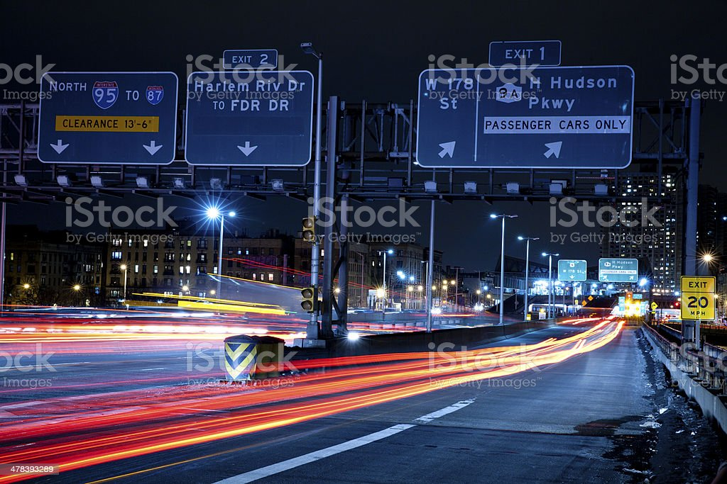 Traffic Light Trails at George Washington Bridge stock photo