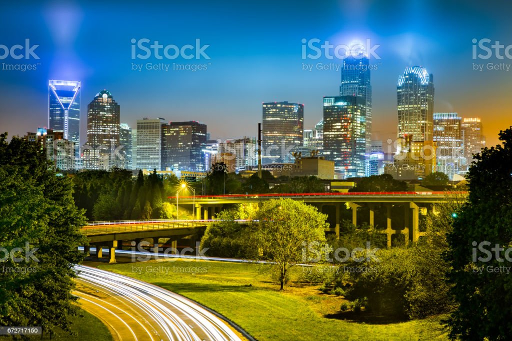 Traffic light trails in Charlotte, North Carolina stock photo