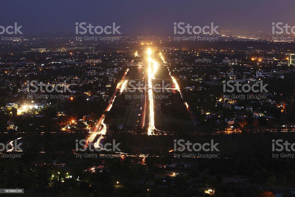 Traffic Light trails in Modern Cityscape Islamabad Pakistan stock photo