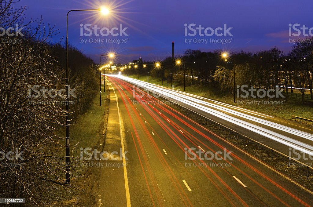 Traffic light trails into Newcastle royalty-free stock photo