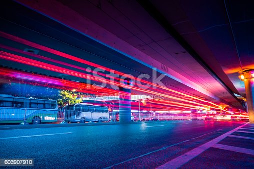 603907998 istock photo Traffic Light trails on street in Shanghai 603907910