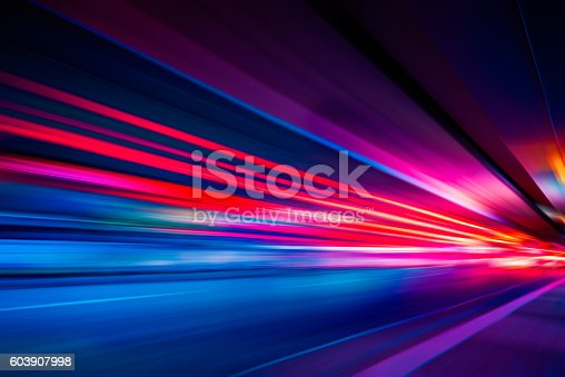istock Traffic Light trails on street in Shanghai 603907998