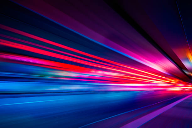 traffic light trails on street in shanghai - motion stock pictures, royalty-free photos & images