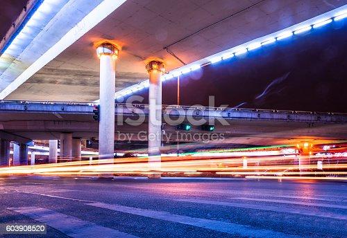 603907998 istock photo Traffic Light trails on street in Shanghai 603908520