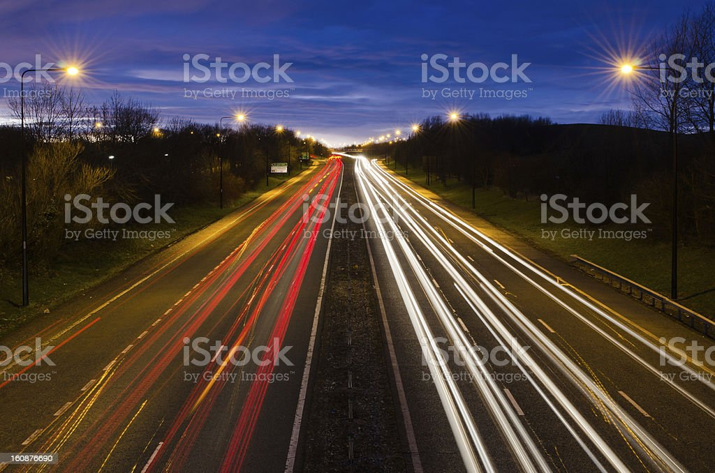 Traffic light trails out of Newcastle royalty-free stock photo