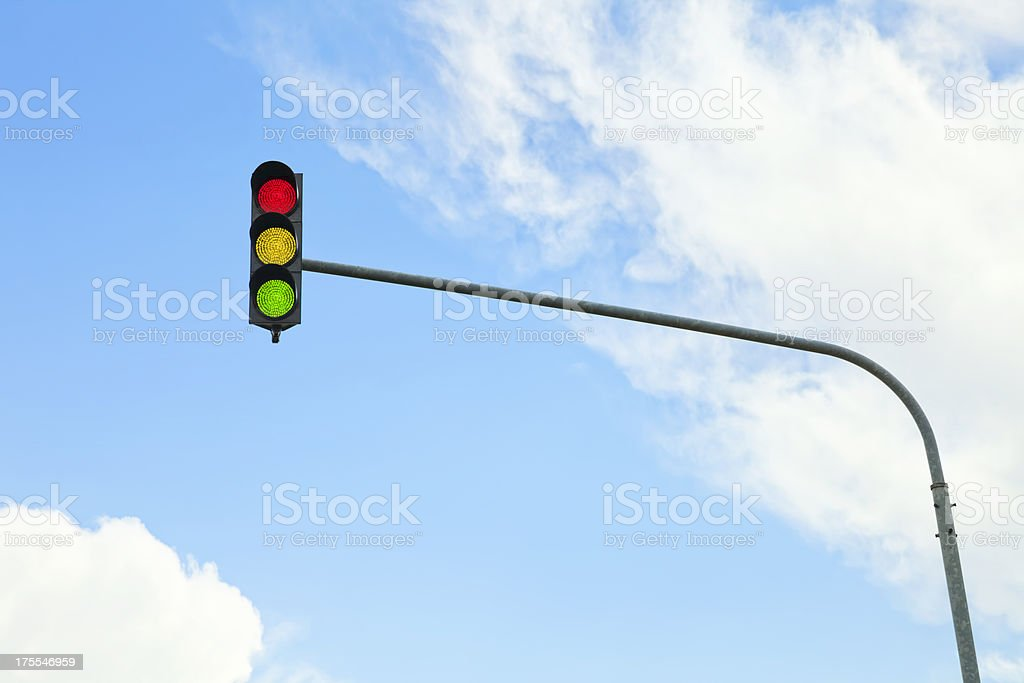 traffic light with all colors stock photo