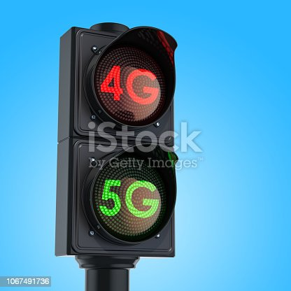 istock Traffic light with green light 5G on sky background. 1067491736