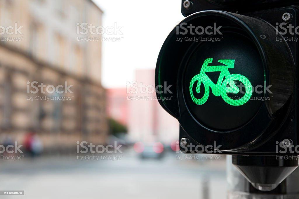 Traffic light with green light for bike stock photo