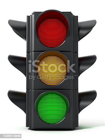 Traffic light with red, yellow and green lights isolated on white.