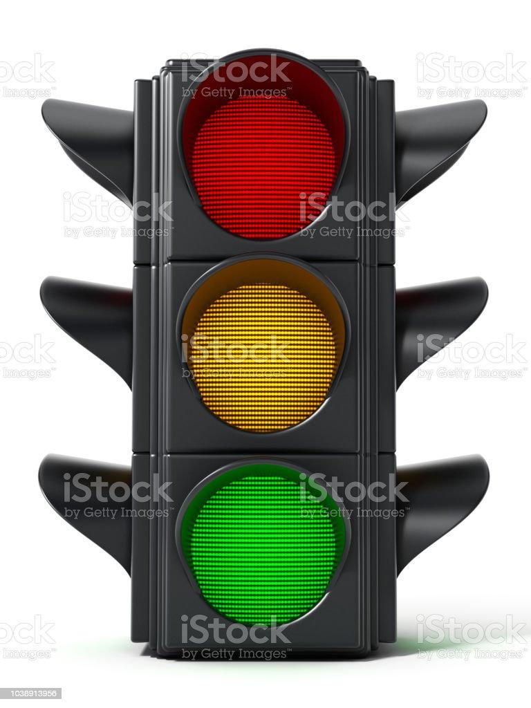 Semáforo en rojo, verde, amarillo y luces - foto de stock