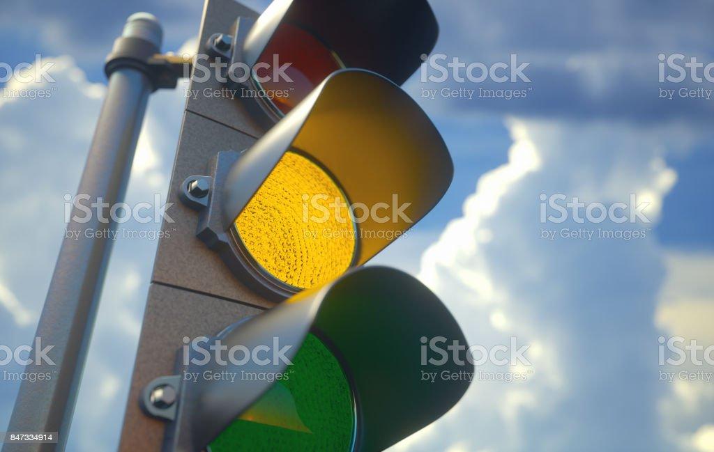 Traffic Light Yellow - Royalty-free Beacon Stock Photo