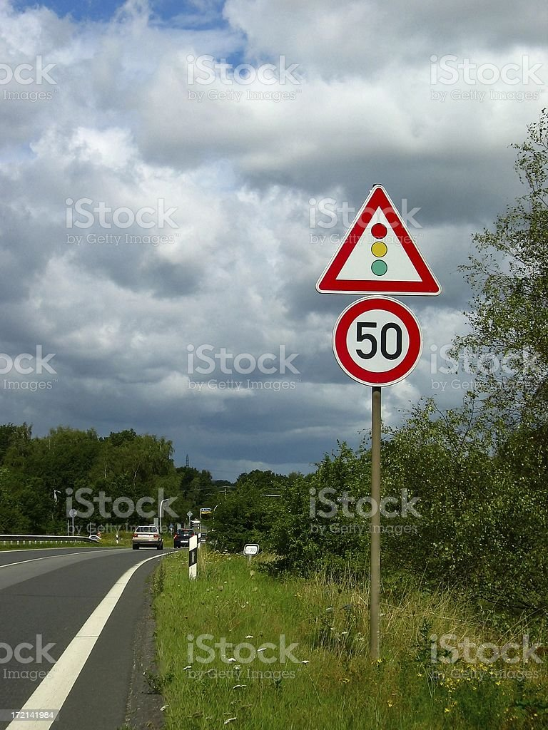 Traffic lights ahead stock photo