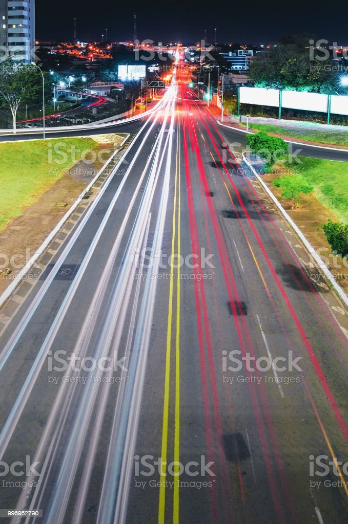 Traffic Lights And Cars Light Trails On A Long Exposure Photo Stock Photo Download Image Now Istock