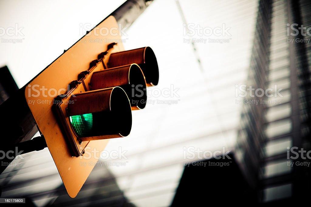 Traffic lights goes green stock photo