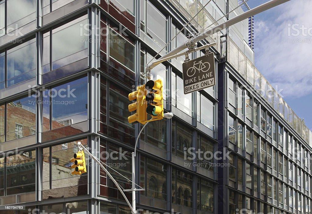Traffic Lights In Manhattan Street Corner stock photo