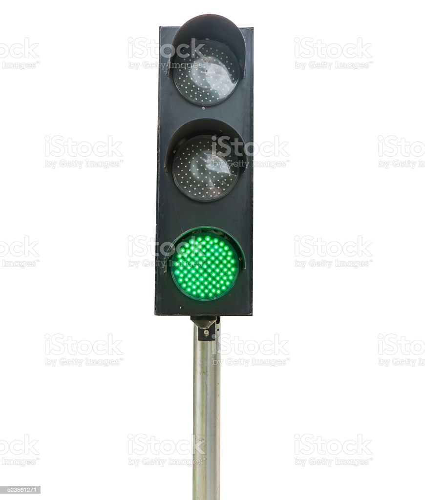 Traffic lights isolated on white background stock photo