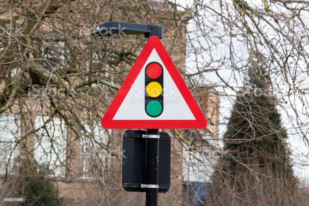 Traffic Lights Warning Triangle Sign Stock Photo - Download