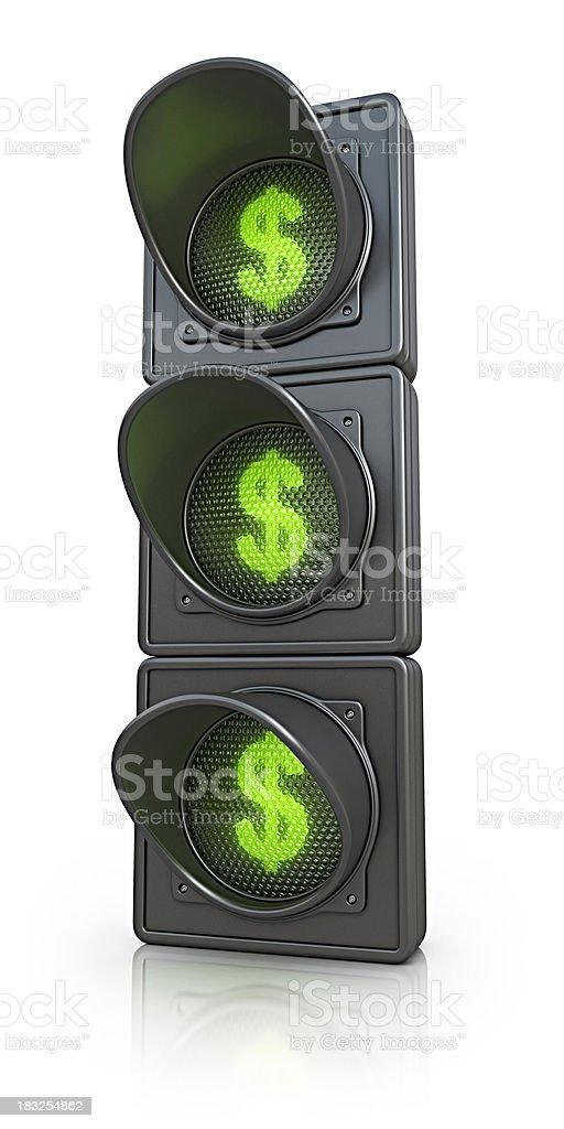 traffic lights with dollar symbol royalty-free stock photo