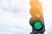 Traffic lights with green light