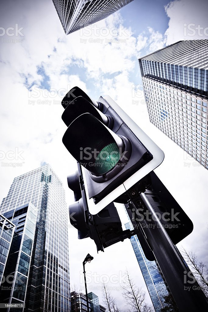 Traffic lights with green lit stock photo