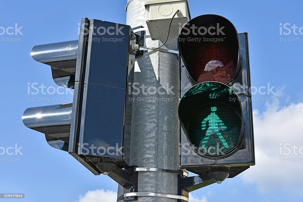 Traffic lithts at the road crossing stock photo