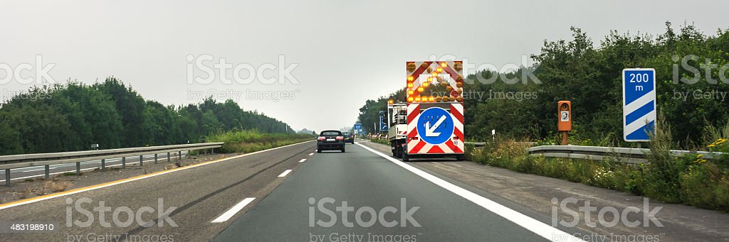 Traffic maintenance on german freeway stock photo