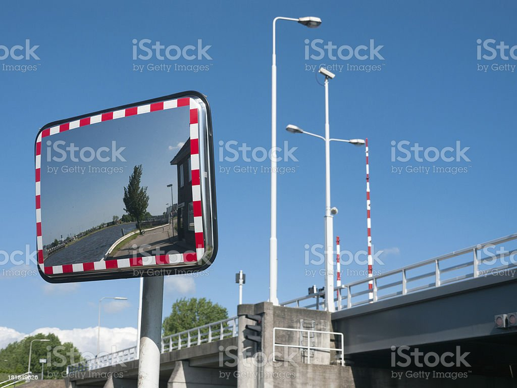 Traffic mirror stock photo