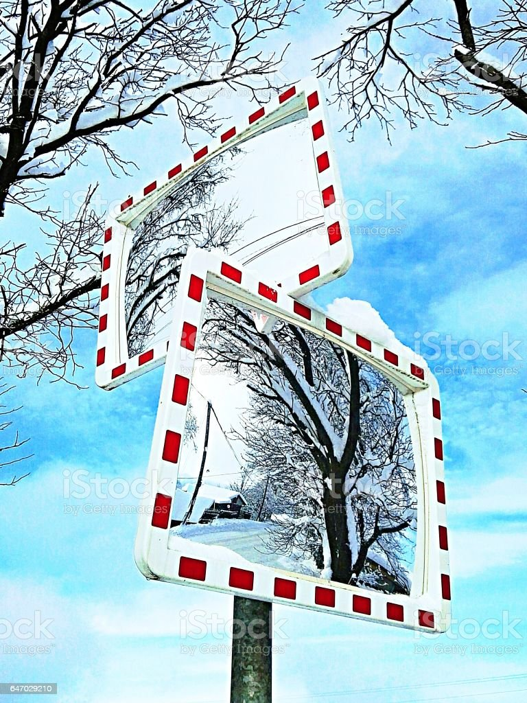 Traffic mirror stock photo