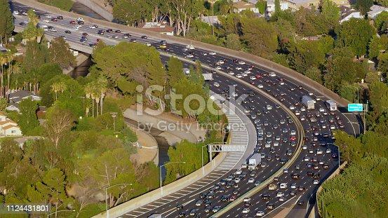 Aerial view of heavy traffic moving on bridge, Los Angeles, California, USA.