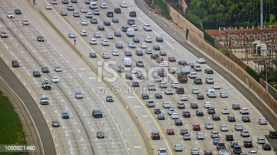 Aerial view of heavy traffic moving on motorway, Southern California, California, USA.