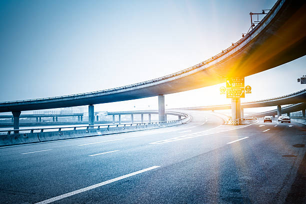 traffic of city clean highway and overpass at shanghai china. elevated road stock pictures, royalty-free photos & images