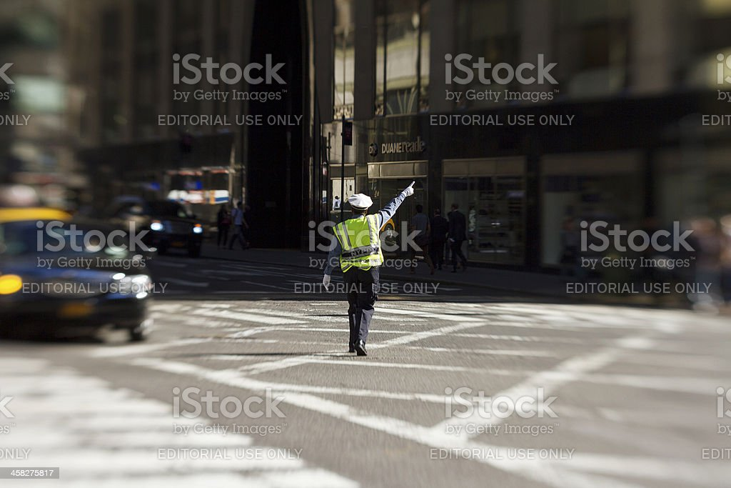 Traffic officer in Manhattan stock photo