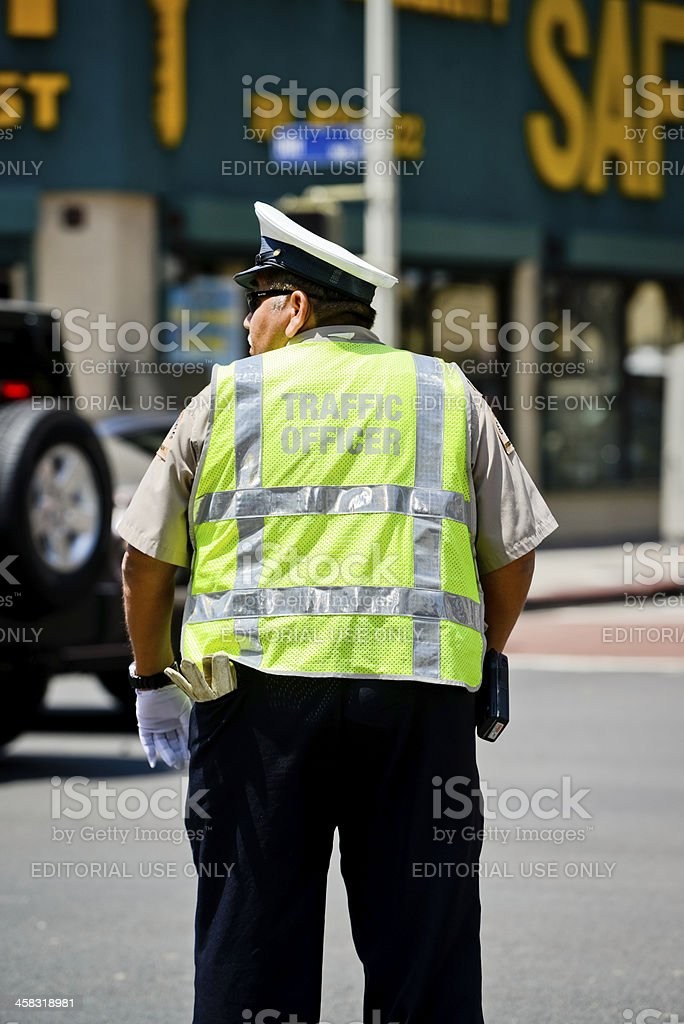 Traffic Officer on Los Angeles street royalty-free stock photo