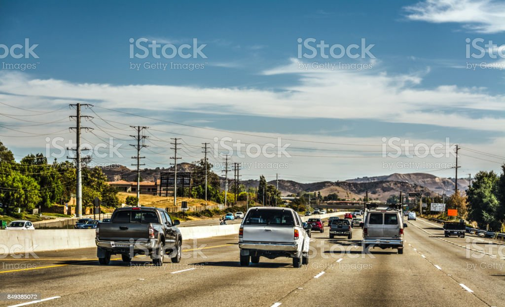 Traffic on 101 freeway northbound stock photo