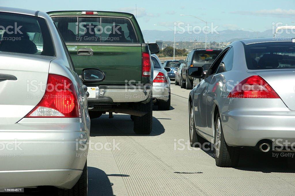 Traffic on 405 freeway in California stock photo