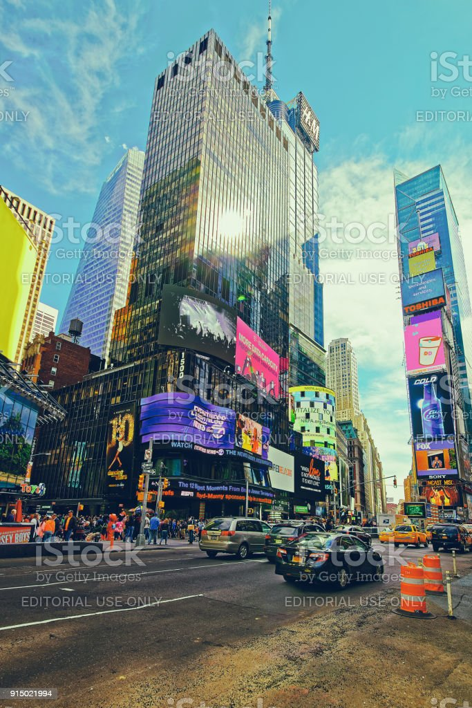 Traffic on 7th Avenue and Broadway in Times Square USA stock photo
