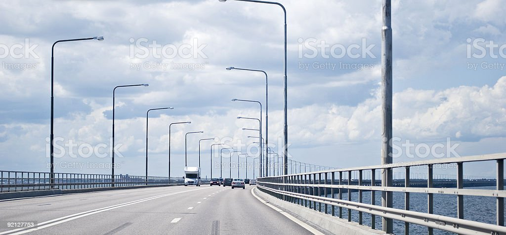 Traffic on a bridge royalty-free stock photo
