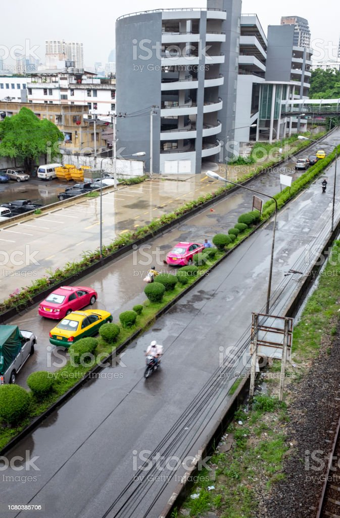 Traffic On A Flooded Street In Bangkok, Thailand stock photo