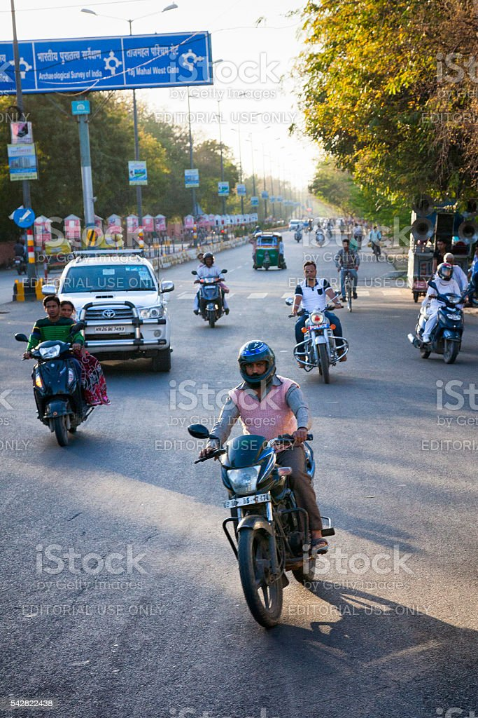 Traffic on a street in Agra, India stock photo